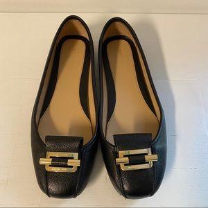 Michael Kors Gloria Moc Leather Black Flats Shoes